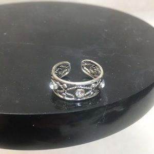 Sterling Silver Rhinestone Adjustable toe ring